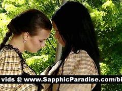 Stunning brunette lesbos kissing and having lesbo sex