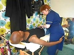 Fucking a large penis that is black from the nurse
