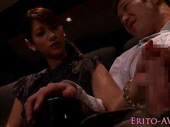 Kinky jap babe cocksucks husband in teather