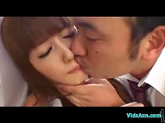 Asian Girl In Skirt Licked Sucking Cock In 69 Cum To Mouth On The Bed In The Room
