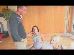 En Trio con hombre fuerte y dos chicas