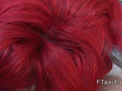 Busty redhead banged to facial