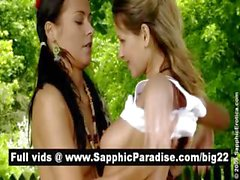 Naughty brunette and blonde lesbos kissing and having lesbo sex outdoor