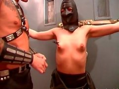 Masked slut licked and tied