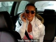 Hot brunette in underwear fucked in taxi