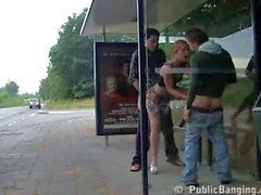 3some on bus stop