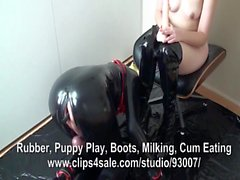 Rubber Puppy Worships Thigh Boots and Gets Anal Fucked and E