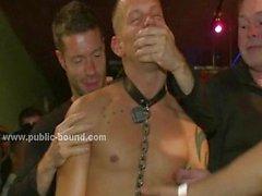 Men waitting their turn at club backroom
