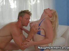MILF in bikini Cameron Keys gets humped on the couch