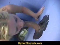 Horny Lady Enjoys Gloryhole Cocksucking Interracial 6