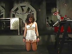 Beautiful brunette gets dominated by black bitch