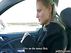 Blonde Czech babe Holly gets convinced to have sex in the car