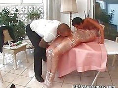 Fetish loving blonde maid is blindfolded