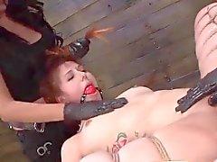 Wild lesbian slut gets dildoed