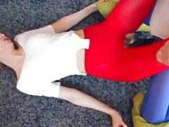 cute lezzies in pantyhose enjoying strap
