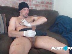 Flirt4Free üzerinde Allen Cole - Hunk w Lateks Eldiven ve Meme Fetiş Jerks Hard
