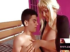 Blonde Latin-BBW-Granny by young Guy