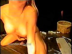 Sexy Blonde cumming on big black dildo cock 1