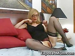 Blond mum in glasses licking hard part4
