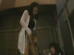 Two sexy schoolgirls take a walk and break off to eat some