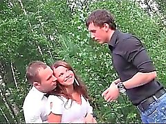 Hardcore outdoor gangbang with gorgeous