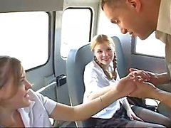 Threesome with naughty teens in car