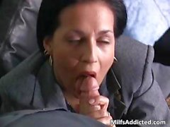 Slutty brunette MILF secretary gets wet