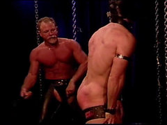 No sound: Masked muscle stud in bondage gets a flogging and whipping to his big manly bubble butt.