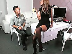 Asian guy eats and bangs cunt on casting