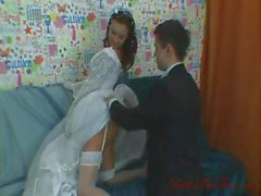 Cute brunette Russian wife eats his cock and gets ass fucked on wedding night
