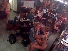 Strip club dressing room camera.