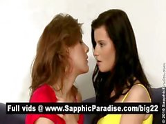 Sexy brunette and redhead lesbos kissing and having lesbo sex