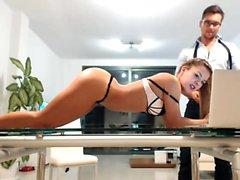 Elegant secretary peels off her tight black dress and expos
