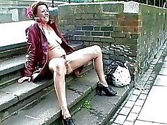 Upskirt public masturbation and nude outdoor flash