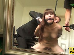 Bonded euro squirter assfucked doggystyle