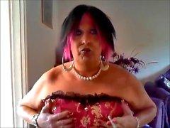 Chrissie smoking in her new Tu Tu corset pt 2