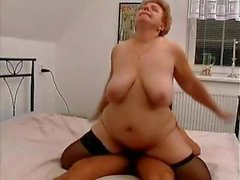 Old granny with a nice rack of tits gets fucked hard by younger man