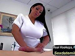 Big titted Kiara Mia doing handjob