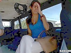 Sporty brunette Karina gets in to bang bus form cash