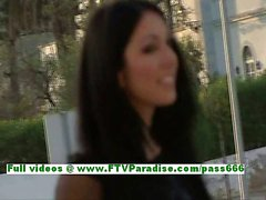 Suri angelic brunette woman flashing pussy in a public place on the stairs