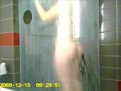 Hot busty girlfriend caught in the shower