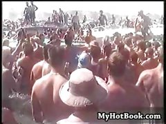 Hot outside partying with a lot of naked women running around