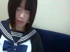 Petite Japanese teen in black maid uniform creampied in bed
