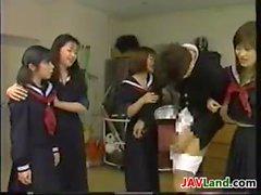 Four Japanese Schoolgirls Playing
