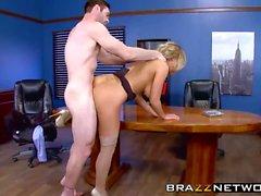 Hot secretary satisfies her horny boss