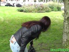 Euro Lilia Rafael cocksucking in a park