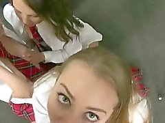 Hot School Girl Ex And Her Friends Sucking Dick Together
