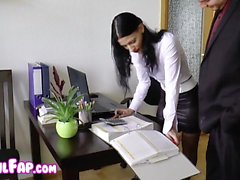 Very hot girl sucking and fucking in office