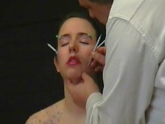 Facial needle torture and hard piercing bdsm a candle wax burned submissive