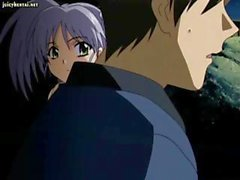 Busty brunette anime gets drilled in the pussy and then blows